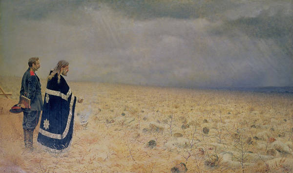 Battle Field Photograph - The Vanquished.  Requiem For The Dead, 1878-79 Oil On Canvas by Vasili Vasilievich Vereshchagin