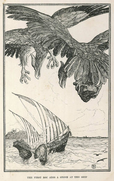 Folklore Drawing - The Vessel Of Sindbad The  Sailor by Mary Evans Picture Library