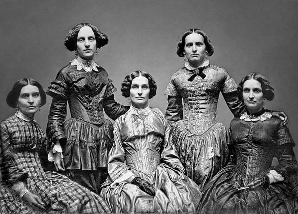 Queen Anne Style Photograph - The Victorian Clark Sisters C. 1850 by Daniel Hagerman