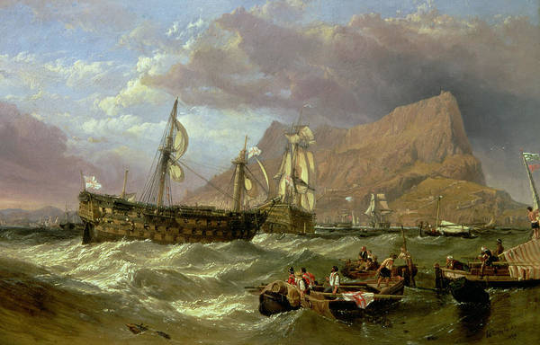 Wall Art - Painting - The Victory Towed Into Gibraltar by Clarkson R A Stanfield