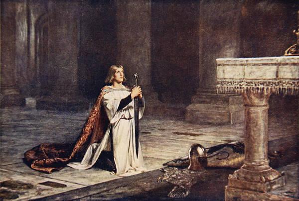 Sword Drawing - The Vigil by John Pettie