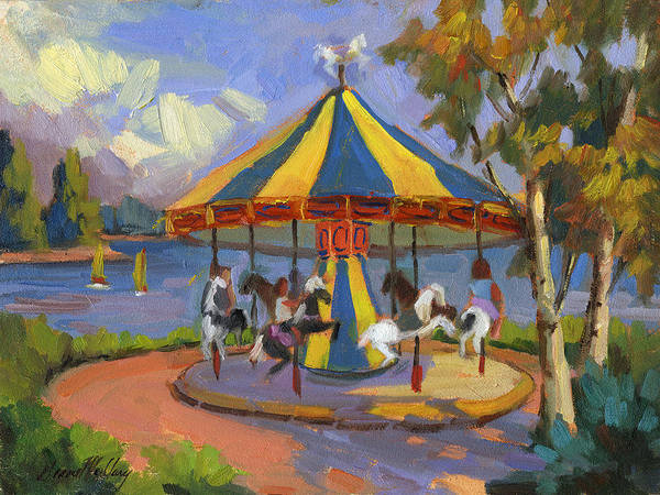 Merry Go Round Wall Art - Painting - The Village Carousel At Lake Arrowhead by Diane McClary