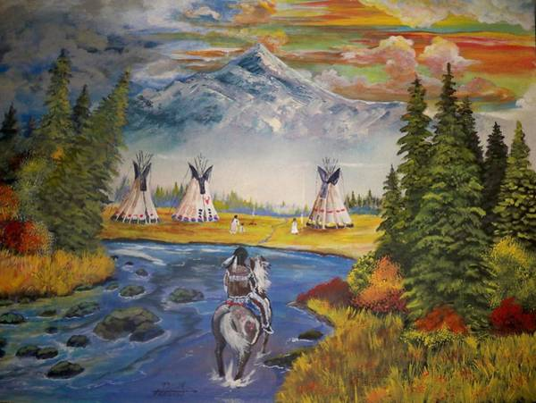 Indian Camp Painting - The Village by Dave Farrow
