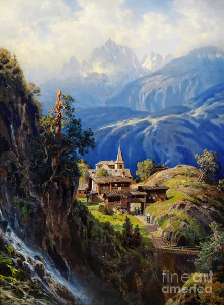 Wall Art - Painting - The Village In The Bernese Oberland by Viktor Birkus