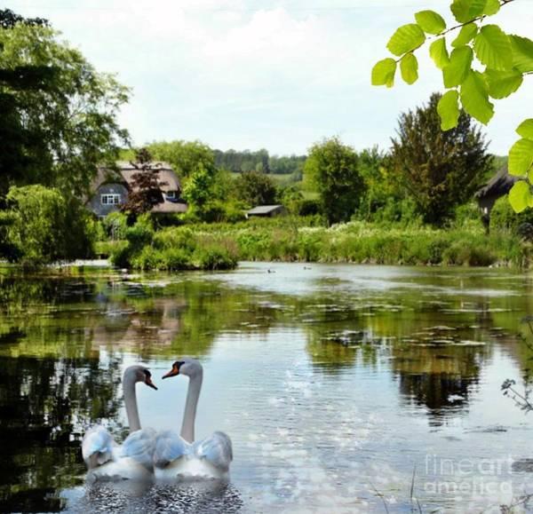 Mixed Media - The Village Pond by Morag Bates