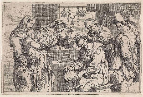 Bystander Drawing - The Village Surgeon, Jan Baptist De Wael by Jan Baptist De Wael