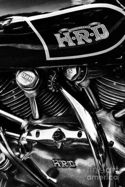 Chrome Engine Photograph - The Vincent Hrd Motorcycle Monochrome by Tim Gainey