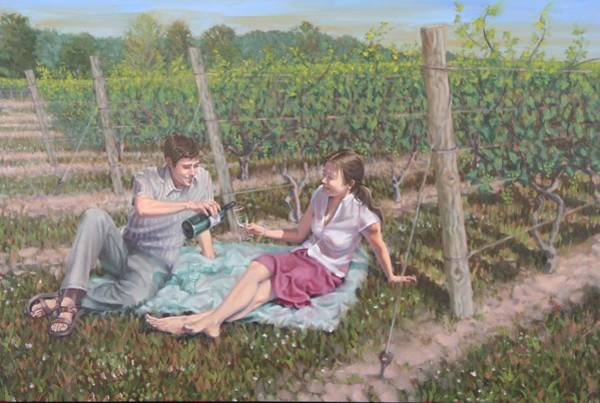 Painting - The Vineyard Picnic by Gary M Long