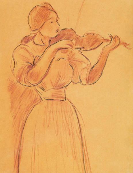 Pastel Pencil Drawing - The Violin by Berthe Morisot