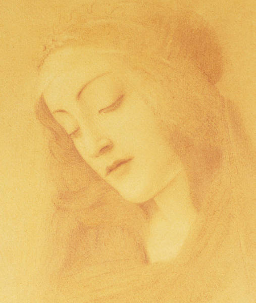 Attractive Drawing - The Virgin After Botticelli by Fernand Khnopff
