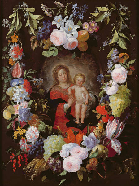 Madonna Photograph - The Virgin And Child With A Garland Of Flowers Oil On Panel by Gerard Seghers