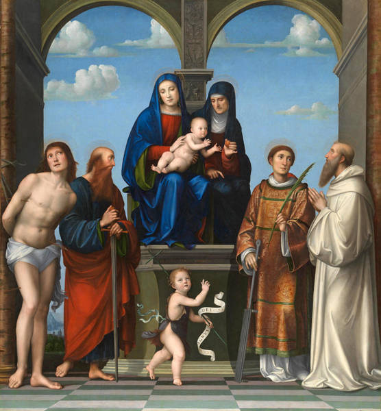 Saint Anne Painting - The Virgin And Child With Saint Anne And Other Saints by Francesco Francia