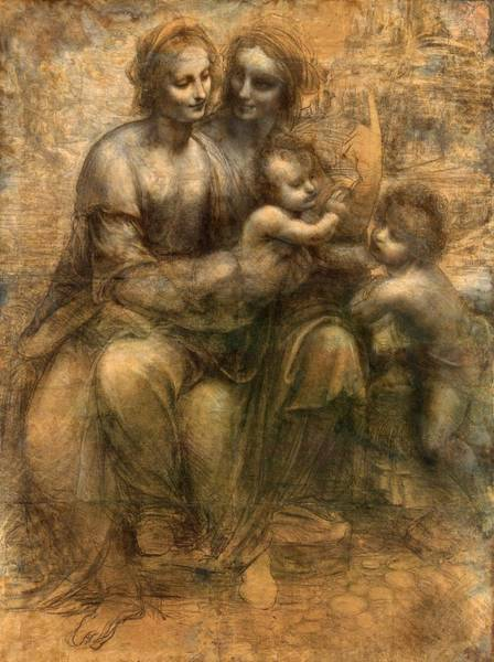 Saint Anne Painting - The Virgin And Child With Saint Anne And Saint John The Baptist by Leonardo da Vinci