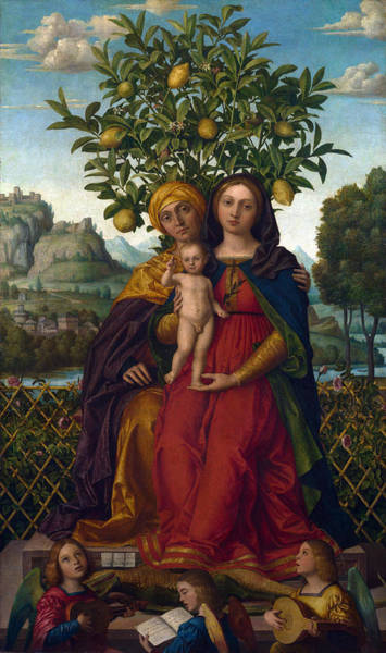 Saint Anne Painting - The Virgin And Child With Saint Anne by Girolamo dai Libri