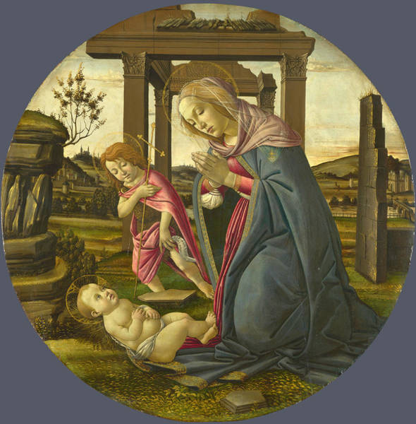Botticelli Wall Art - Painting - The Virgin And Child With Saint John The Baptist by Workshop of Sandro Botticelli