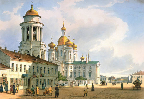 Onion Domes Photograph - The Virgin Of Vladimir Church In St. Petersburg, C.1840 Colour Litho by Ferdinand Victor Perrot