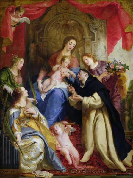 Kneeling Painting - The Virgin Offering The Rosary To St. Dominic by Gaspar de Crayer