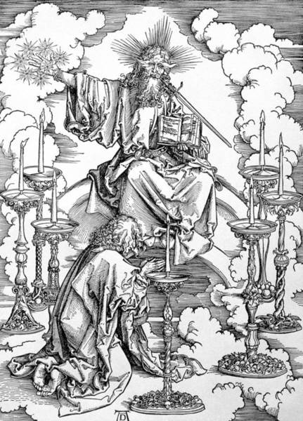 Wall Art - Drawing - The Vision Of The Seven Candlesticks From The Apocalypse Or The Revelations Of St. John The Divine by Albrecht Durer or Duerer
