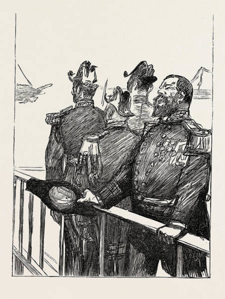 Wall Art - Drawing - The Visit Of The French Fleet The Leader Of The Cheers by English School