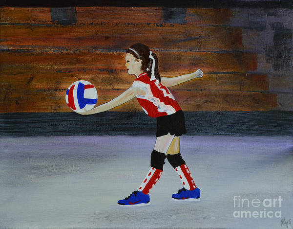 Volley Painting - The Volleyball Game by Alys Caviness-Gober