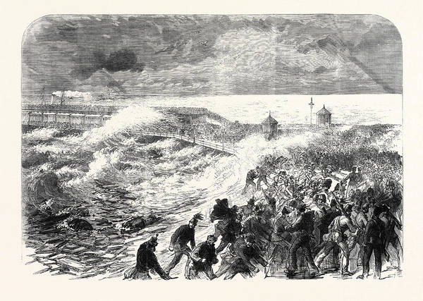 Ferrets Drawing - The Volunteer Review At Dover Scene At The Wreck Of H by English School
