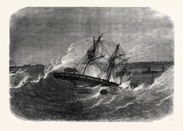 Ferrets Drawing - The Volunteer Review At Dover Wreck Of H by English School