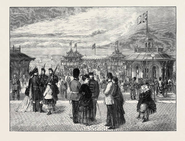 Brighton Pier Drawing - The Volunteers At Brighton, The New Pier by English School
