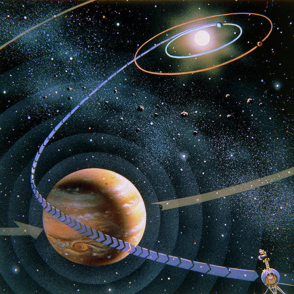 Flyby Photograph - The Voyager 2 Flyby Around Jupiter Towards Saturn by David A. Hardy/science Photo Library