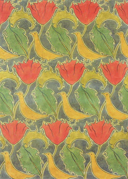 Colours Drawing - The Voysey Birds by Voysey