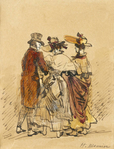 Old Style Drawing - The Walk  by Henri Bonaventure Monnier