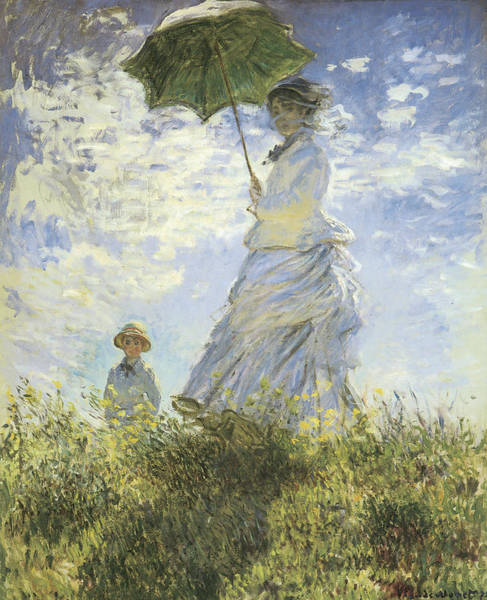 Victorian Era Painting - The Walk Lady With A Parasol by Claude Monet