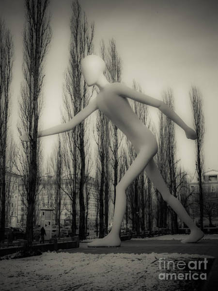 Photograph - The Walking Man - Bw by Hannes Cmarits