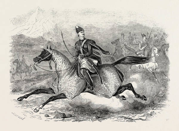 Caucasian Drawing - The War In Circassia Shamil, The Circassian Chief by English School