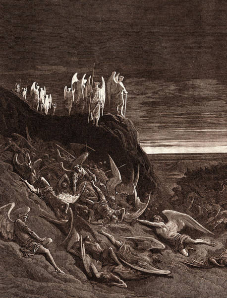 Dor Drawing - The War In Heaven, By Gustave DorÉ. Gustave Dore by Litz Collection