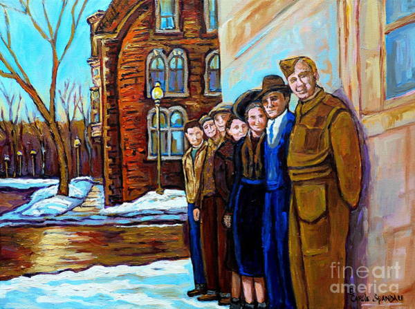 Montreal Street Scene Painting - The War Years 1942 Montreal St Mathieu And De Maisonneuve Street Scene Canadian Art Carole Spandau by Carole Spandau