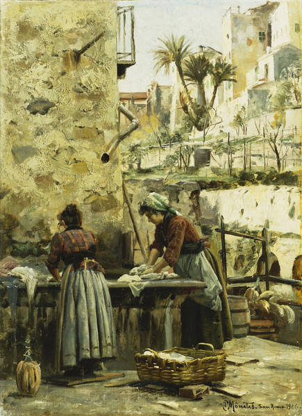 Trader Painting - The Washerwomen by Peder Monsted
