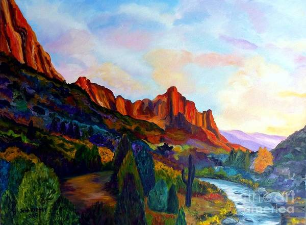 Sw Painting - The Watchman Zion Park Utah by Julie Brugh Riffey