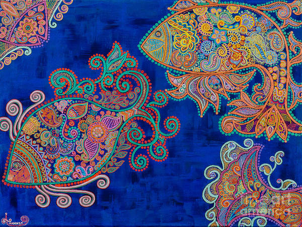 Madhubani Painting - The Water Angels by Anannya Chowdhury