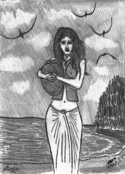 Drawing - The Water Girl by Neil Stuart Coffey