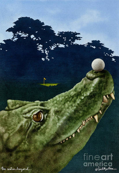 Alligators Wall Art - Painting - The Water Hazard... by Will Bullas