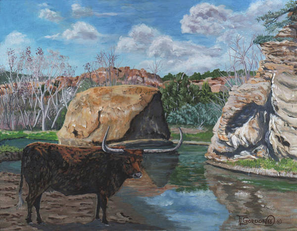 Longhorn Painting - The Water Hole by Timithy L Gordon