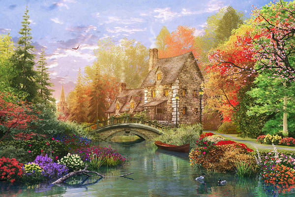 Country House Digital Art - The Water Lake Cottage by MGL Meiklejohn Graphics Licensing