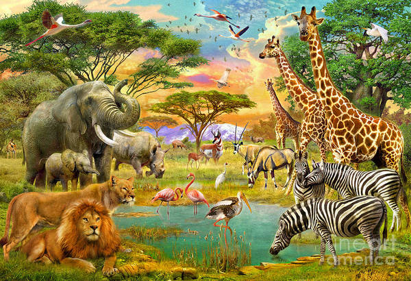 Multi Digital Art - The Watering Hole by MGL Meiklejohn Graphics Licensing