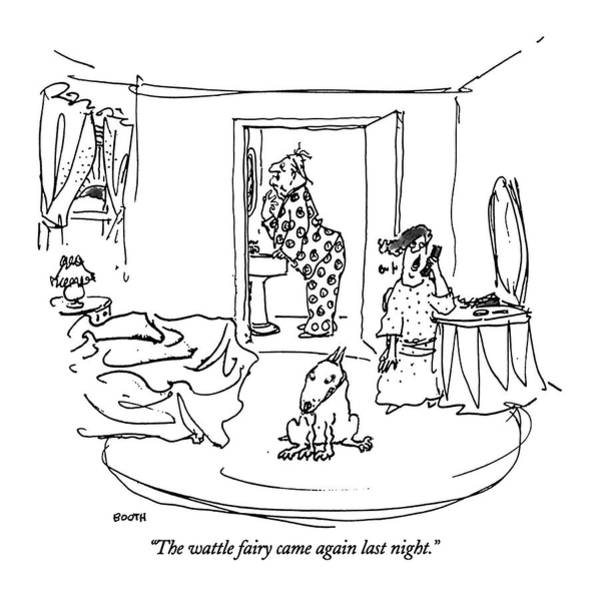 Bathroom Drawing - The Wattle Fairy Came Again Last Night by George Booth