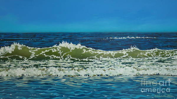 Wave Breaking Painting - The Wave by Elisabeth Olver