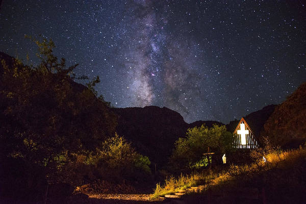 Nighttime Photograph - Way To The Chapel by Aaron Bedell