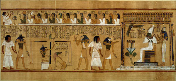 Wall Art - Photograph - The Weighing Of The Heart Against Maats Feather Of Truth, From The Book Of The Dead Of The Royal by Egyptian 19th Dynasty