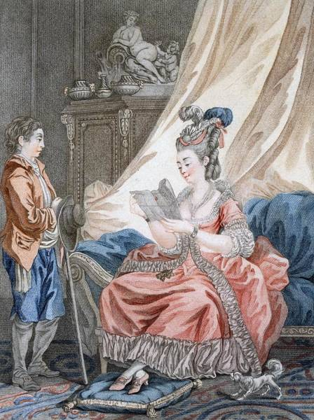 Bedroom Drawing - The Welcome News, Engraved By L. Marin by Jean-Baptiste Le Prince