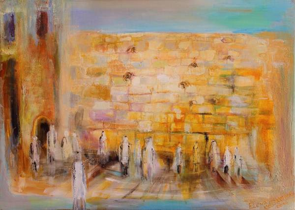 Kabbalistic Wall Art - Painting - The Western Wall by Elena Kotliarker