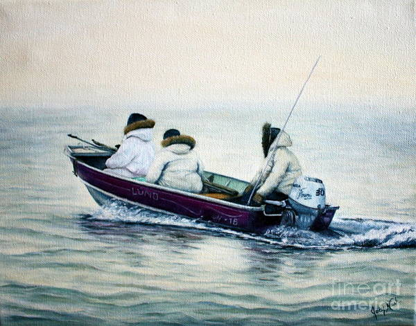 Inuit Painting - The Whale Hunters by Joey Nash